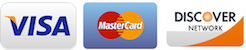 Visa, MasterCard, and Discover credit cards accepted